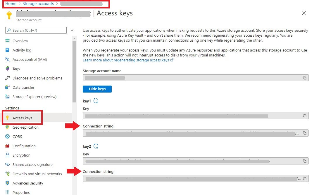 Get Connection String in Azure Blob Storage
